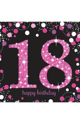 Serwetki na 18 urodziny różowo-srebrne