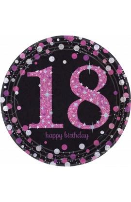 Talerzyki na 18 urodziny różowo-srebrne