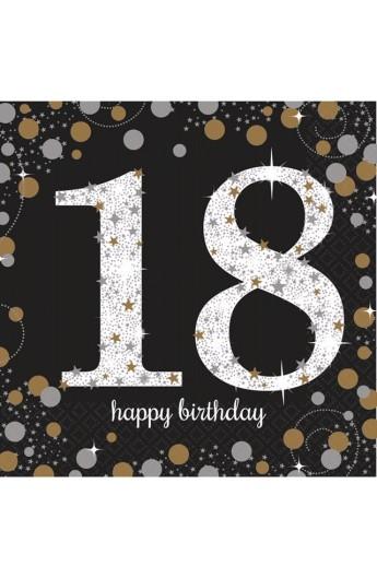 Serwetki na 18 urodziny złoto-srebrne