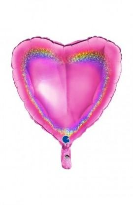 """Balon foliowy 18"""" holograficzny fuksja"""