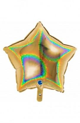 """Balon foliowy 18"""" gwiazda holograficzna złota"""