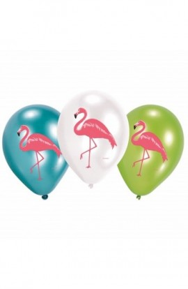 """Balony urodzionwe 6 SZT. 12"""" Z NADRUKIEM FLAMINGA"""