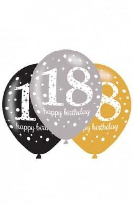 Balony urodzinowe 6 SZT. na 18-stkę
