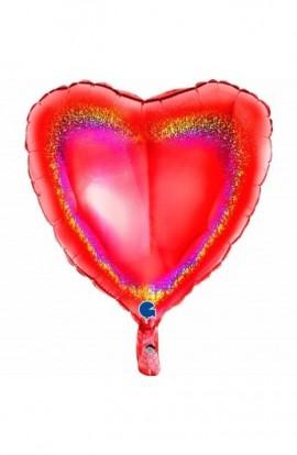 """Balon foliowy 18"""" holograficzny czerwony"""