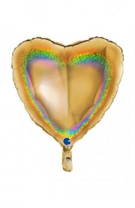 """Balon foliowy 18"""" holograficzny złoty"""