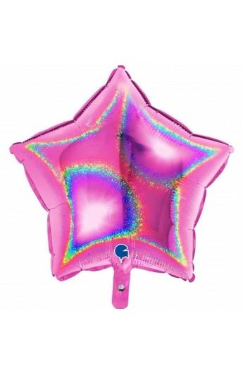 """Balon foliowy 18"""" gwiazda holograficzna fuksja"""