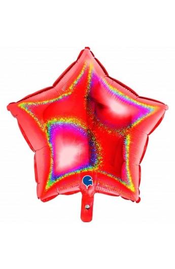 """Balon foliowy 18"""" gwiazda holograficzna czerwona"""
