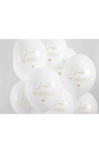 Balony gumowe weselne z napisem Just  Married