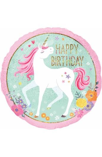 """Balon foliowy 18"""" Jednorożec Happy Birthday"""