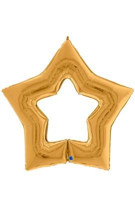 """Balon foliowy 48"""" gwiazda złota z dziurą"""