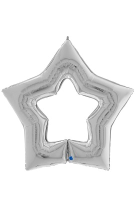 """Balon foliowy 48"""" gwiazda srebrna z dziurą"""