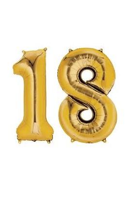 Balony złote na 18 urodziny