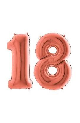 Balony różowe złoto na 18 urodziny