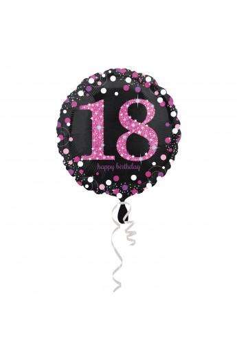 "Balon na 18 urodziny 18"" różowo-srebrny"
