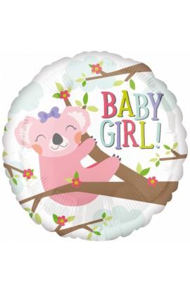 "BALON FOLIOWY 18"" BABY GIRL KOALA"