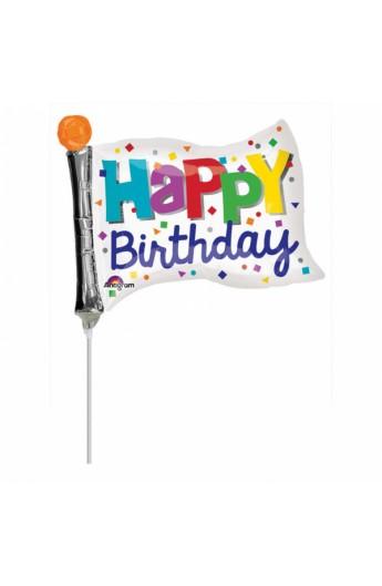 """Balon foliowy 14"""" Flaga urodzinowa"""