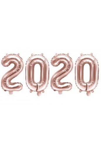 """Zestaw 4 balonów 40"""" 2020 różowe złoto"""