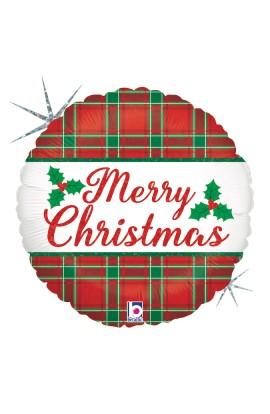 """Balon foliowy 18"""" Merry Christmas w kratkę"""