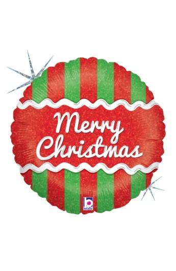 "Balon foliowy 18"" Merry Christmas w paski"