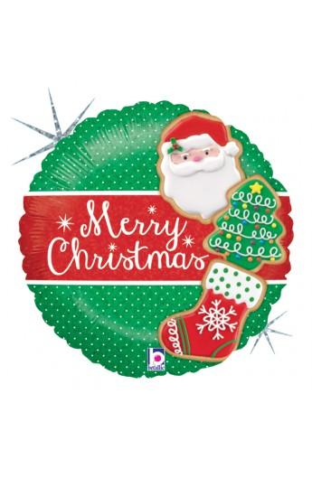 """Balon foliowy 18"""" Merry Christmas Pierniczki"""