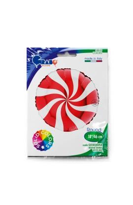 """Balon foliowy 18"""" Lizak czerwono-biały"""