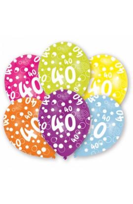 6 szt. balonów lateksowych na 40 urodziny