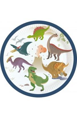 Talerzyki papierowe Dinozaury 8 szt.
