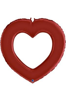 """Balon foliowy 48"""" serce czerwone z dziurą"""