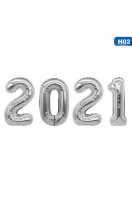 "ZESTAW 4 BALONÓW 40"" (101 CM) 2021 SREBRNY"
