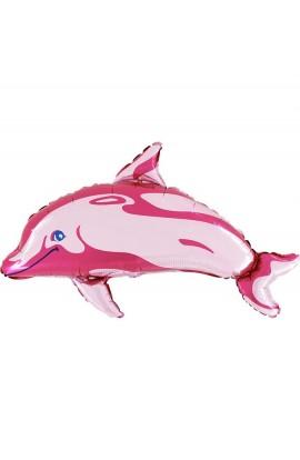 """Balon foliowy 14"""" Delfin różowy"""
