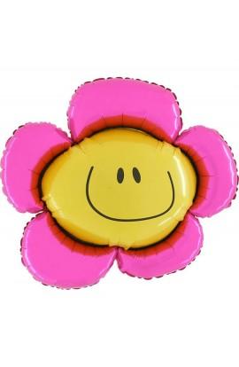 """Balon foliowy 14"""" Kwiatek różowy"""