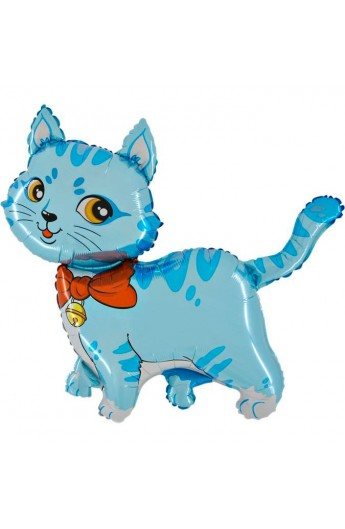 """Balon foliowy 14"""" Kot niebieski"""