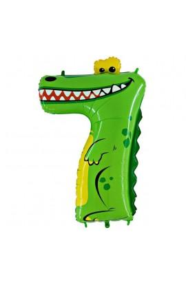 "Balon foliowy 40"" 101 cm Cyferka 7 krokodyl"