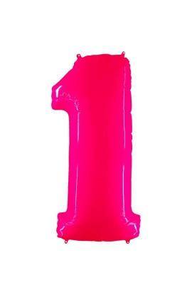 """Balon urodzinowy 40"""" 101 CM CYFERKA RÓŻOWA FLUO 1"""