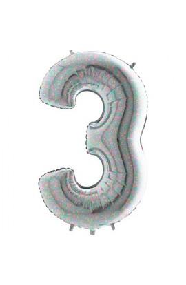 """40 """" 101 cm Cyferka holograficzna srebrna nr 3"""
