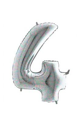 """40 """" 101 cm Cyferka holograficzna srebrna nr 4"""