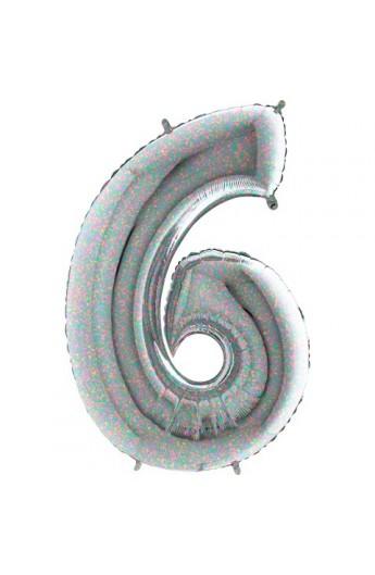 """40 """" 101 cm Cyferka holograficzna srebrna nr 6"""