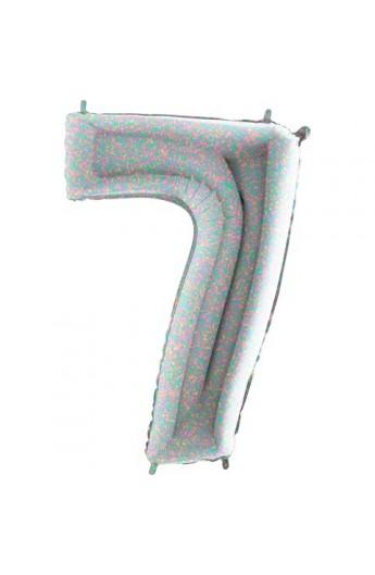 """40 """" 101 cm Cyferka holograficzna srebrna nr 7"""