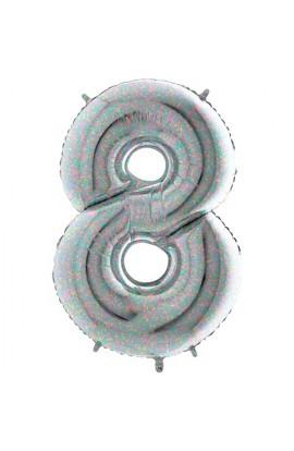 """40 """" 101 cm Cyferka holograficzna srebrna nr 8"""